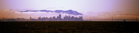 San Francisco skyline as seen from the westbound San Mateo Bridge...